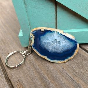 Agate Slice Keychain, Blue